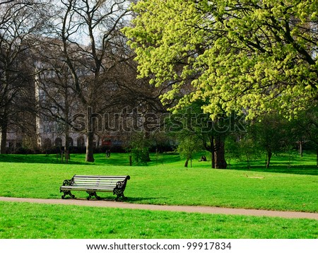 a bench in Hyde Park of London - stock photo