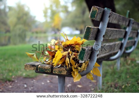A bench with a bouquet of autumn leaves.