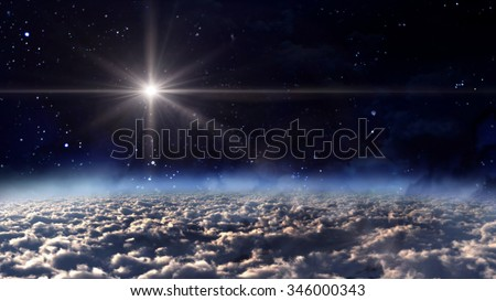 A Bethlehem illuminated by the Christmas star of Christ - Elements of this Image Furnished by NASA