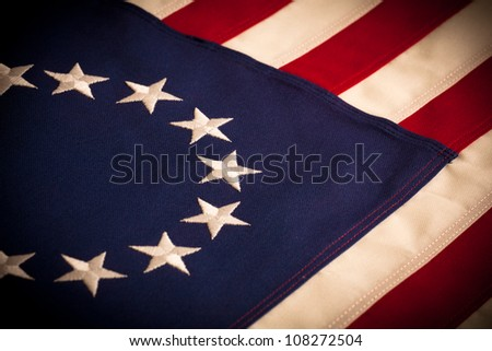 """A """"Betsy Ross"""" 13 star American Flag - stock photo"""
