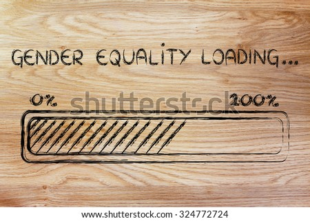 a better word: progress bar metaphorically loading more gender equality - stock photo