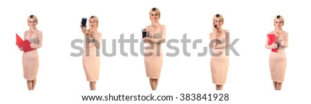 A beuatifull girl smiling and happy holds a smart phone in her hands, a sympathetic girl with a modest smile holding a smart phone looking at you. Always convenient with Gadgets. Information is a joy. - stock photo