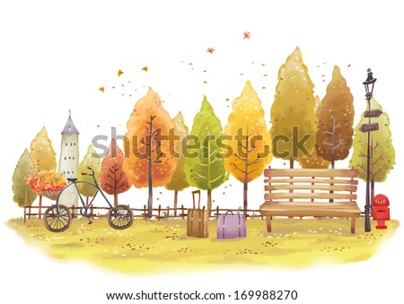 A bicycle and bench in a park on an autumn day. - stock photo