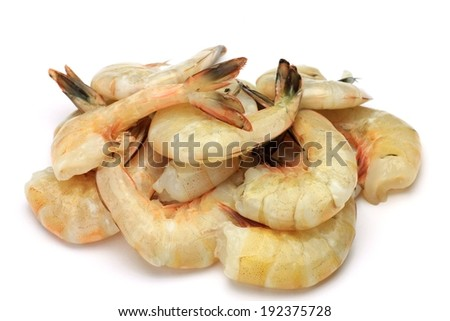 A big bunch of raw shrimp in their shell. - stock photo