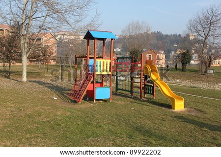 A big colorful children playground equipment.
