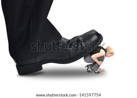 A big corporate foot is stepping on a small woman employee for a power or management concept.