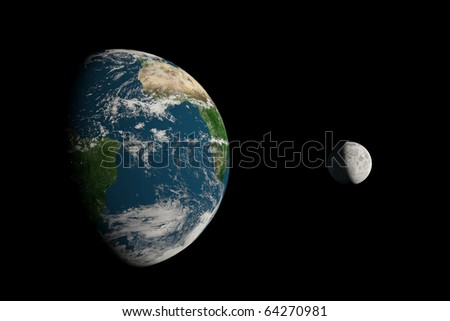 A big Earth and a small Moon on a black background - stock photo