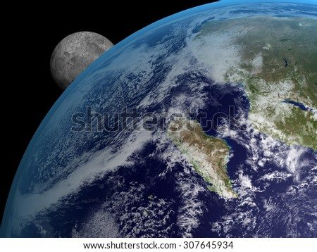 A big Earth and a small Moon on a black background. Elements of this image furnished by NASA. - stock photo