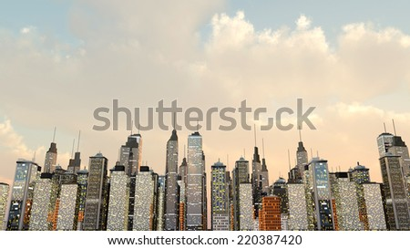 A big generic city under a moody green sky. 3D rendered Illustration. - stock photo