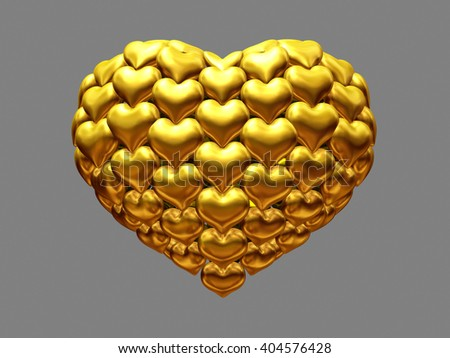 a big golden heart made of many small hearts, symbol of love, 3d illustration - stock photo