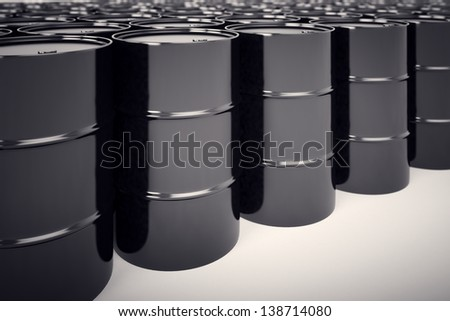 A big group of black new oil barrels. - stock photo