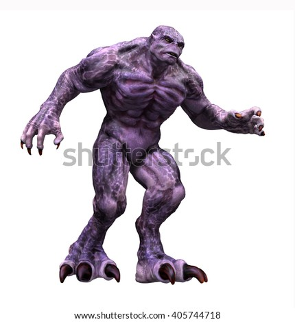 A big hulking purple monster - 3d render with digital painting. - stock photo
