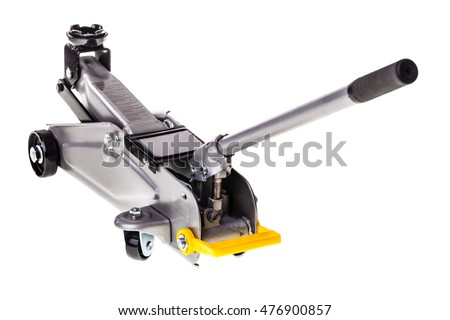 a big metal car jack isolated over a white background