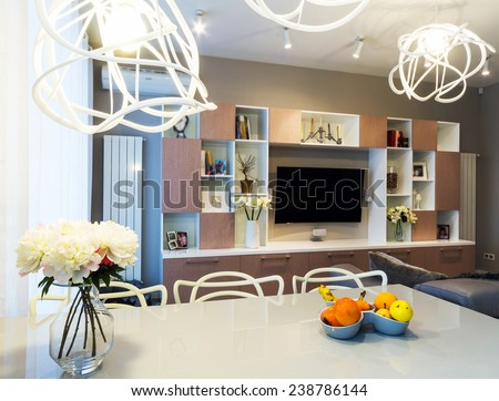 A big Modern living room with TV - stock photo