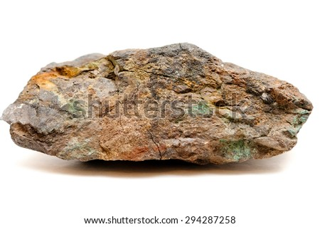 a big ore sample of silver, copper and gold on a white background
