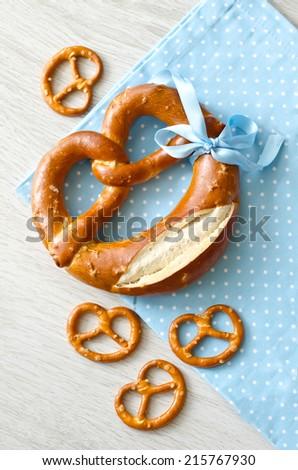 A big pretzel with small pretzels  - stock photo