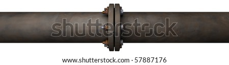 a big rusty old looking pipeline with a connection isolated on white