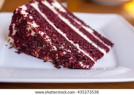 A big slice of red beet cake - stock photo