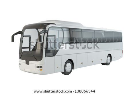 A big tour bus isolated on white  background - stock photo