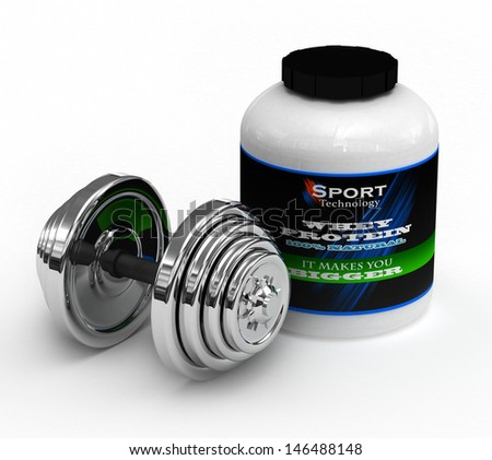 A big tub of whey protein for body building with chrome dumbbell - stock photo