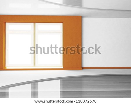 a big window in empty room - stock photo