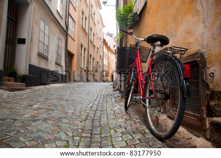 A bike in the old town of Stockholm, Sweden - stock photo