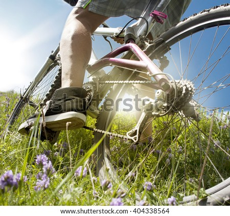 A bike. the sun. nature. - stock photo