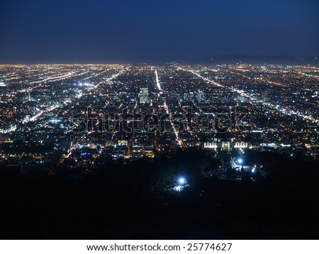 A billion city lights glow brightly in Los Angeles. - stock photo