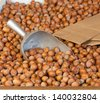 A Bin of Hazelnuts or Filberts in a Farmers Market, Fresh Picked in Fall and Ready for Cracking and Eating or used as a Food or Confectionery Ingredient - stock photo