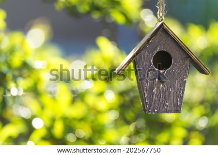A bird house or bird box in summer or spring sunshine with natural green leaves background - stock photo