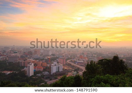 a bird's eye view of  Pattaya at Thailand look like Dramatic scenery of the city center at sunset  - stock photo