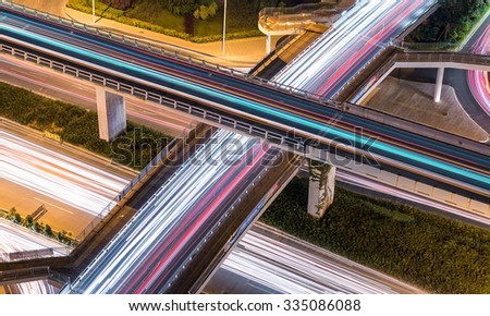 A bird's-eye view of the city interchange bird - stock photo