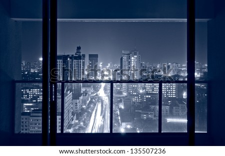 A Birds Eye View Of The City Night Outside Window