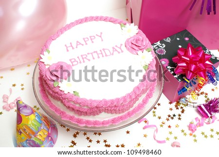 A birthday cake for any aged female. - stock photo