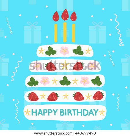 A birthday cake with candles with strawberries. Gifts Seamless pattern,streamer- illustration. Blue background. - stock photo