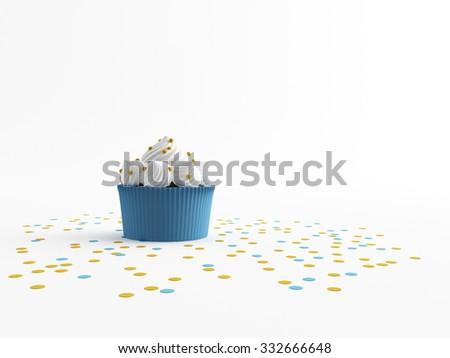 a birthday Cupcake on a white screen - stock photo