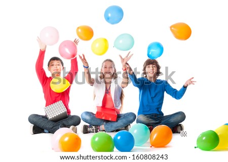 a birthday girl with her two friends with presents and balloons on a white background