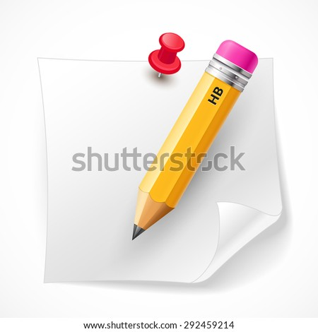 A bitmap image with a pencil and a piece of paper. Realistic drawn illustration of white paper and a pencil on a light background. - stock photo