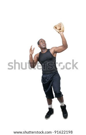 A black African American man baseball player at a game - stock photo