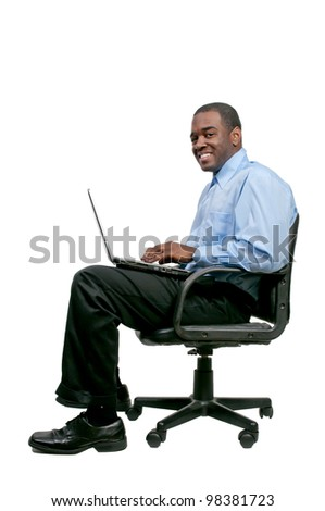 A black African American man computer user