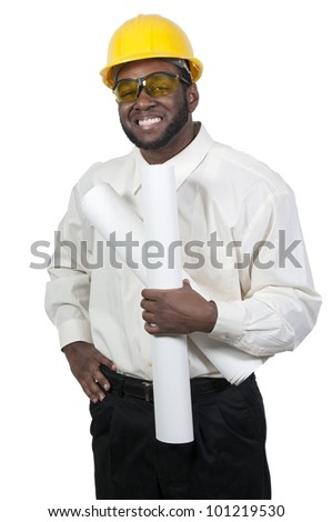 A black African American man Construction Worker on a job site - stock photo