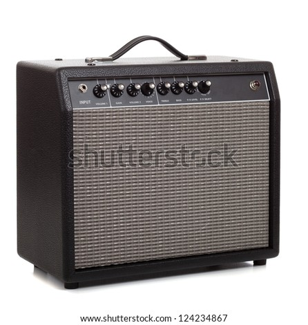 A black amplifier on a white background