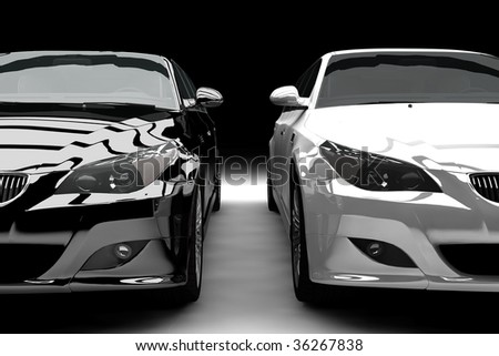 A black and a white limousine isolated - stock photo