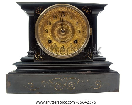 a black and gold antique mantle clock with the minute hand about to strike 12 o - Mantle Clock