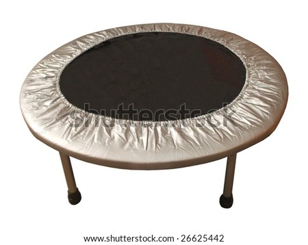 A Black and Silver Indoor Trampoline.