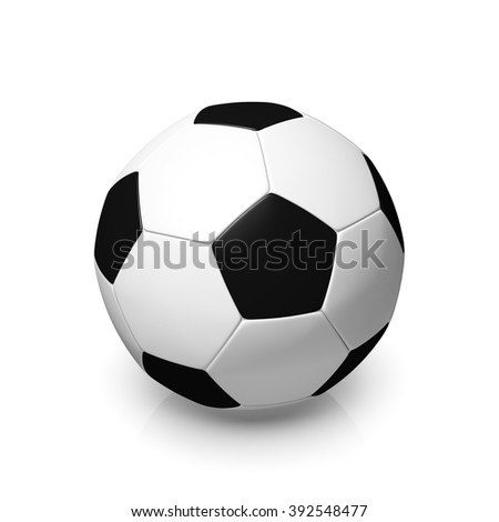 A black and white football, 3d render on a white background.