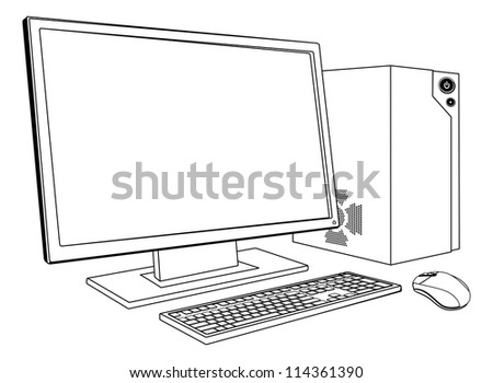 A black and white illustration of desktop PC computer workstation. Monitor, mouse keyboard and tower - stock photo