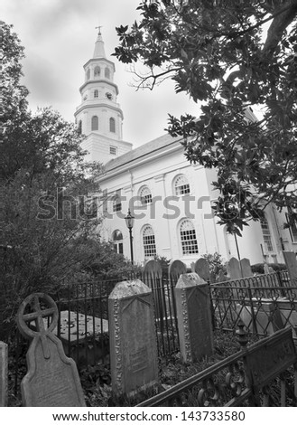 A black and white of St. Micheal's Episcopal Church  built in the 1750s,  in Charleston, South Carolina. - stock photo