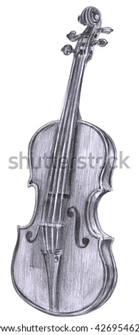 A black and white pencil drawing of a vintage violin on a white background - stock photo