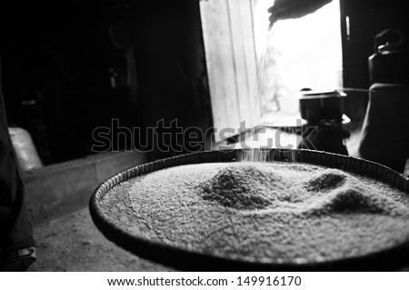 A black and white picture of a woman sorting and cleaning rice. - stock photo